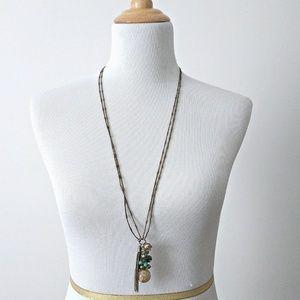 LOFT Long Boho Tassel Pendant Necklace Turquoise